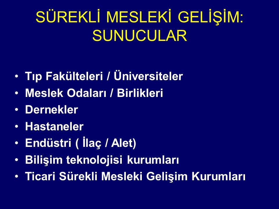Türkiye'de STE/SMG Kredilendirmesi Toplam EtkinlikSayısı: 7, 560 CME/CPD Accreditation in Turkey: Total no of accredited act ivities : 7,560