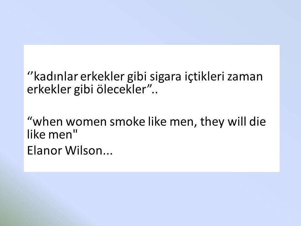 """''kadınlar erkekler gibi sigara içtikleri zaman erkekler gibi ölecekler"""".. """"when women smoke like men, they will die like men"""