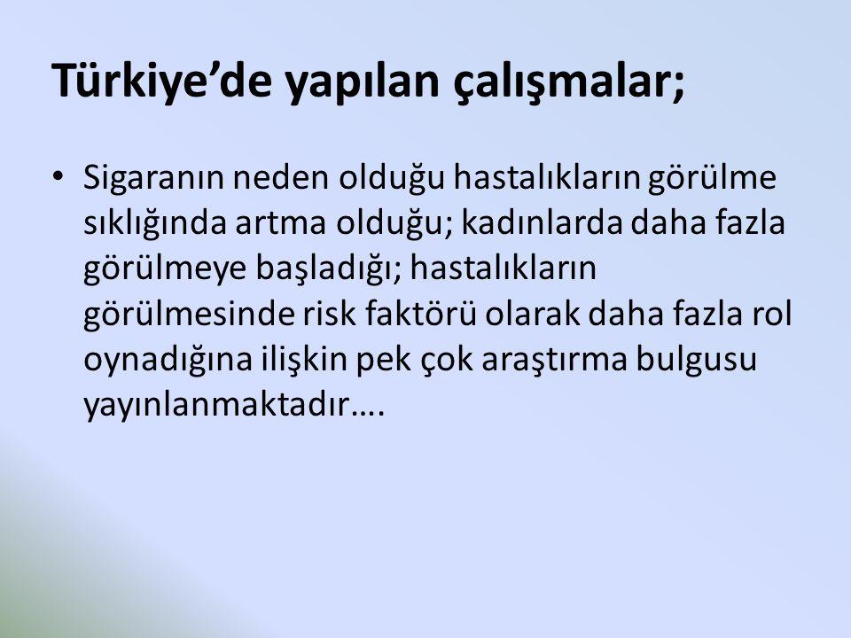 Türkiye'de yapılan çalışmalar; Sigaranın neden olduğu hastalıkların görülme sıklığında artma olduğu; kadınlarda daha fazla görülmeye başladığı; hastalıkların görülmesinde risk faktörü olarak daha fazla rol oynadığına ilişkin pek çok araştırma bulgusu yayınlanmaktadır….