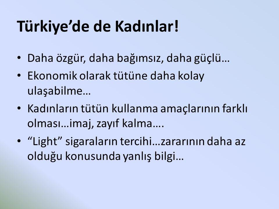 Türkiye'de de Kadınlar! Daha özgür, daha bağımsız, daha güçlü… Ekonomik olarak tütüne daha kolay ulaşabilme… Kadınların tütün kullanma amaçlarının far