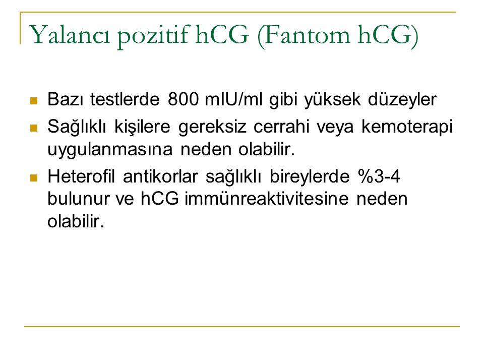 Yalancı pozitif hCG (Fantom hCG) Bazı testlerde 800 mIU/ml gibi yüksek düzeyler Sağlıklı kişilere gereksiz cerrahi veya kemoterapi uygulanmasına neden