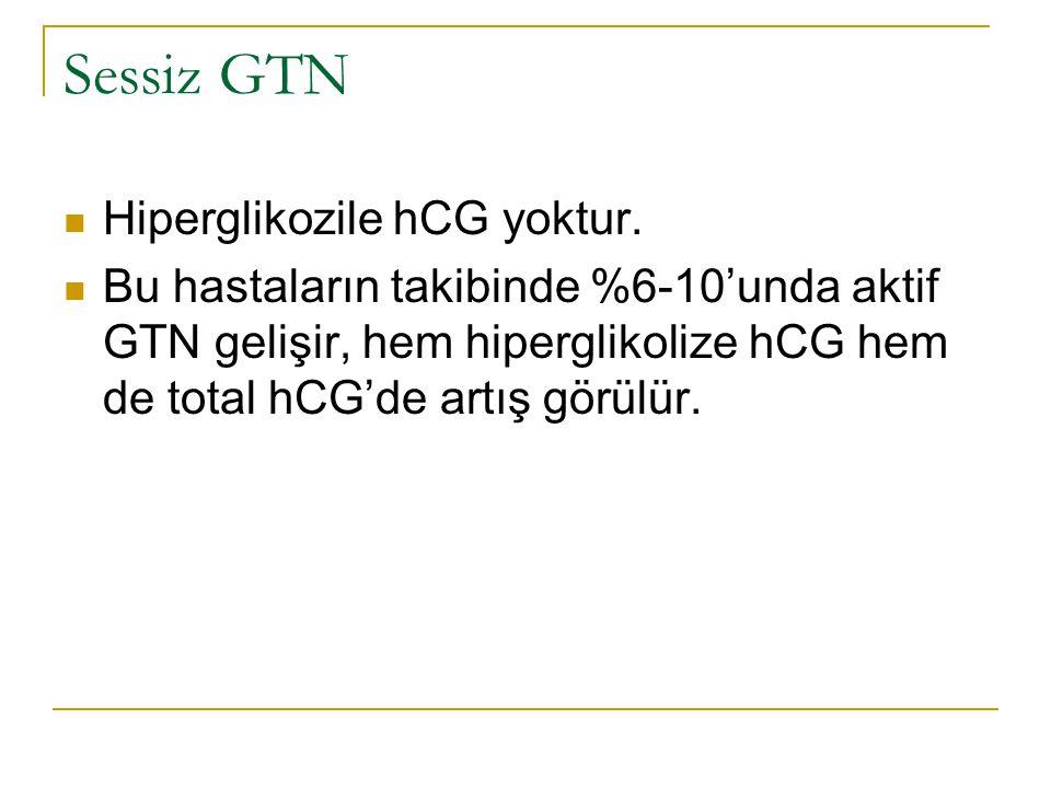 Sessiz GTN Hiperglikozile hCG yoktur. Bu hastaların takibinde %6-10'unda aktif GTN gelişir, hem hiperglikolize hCG hem de total hCG'de artış görülür.