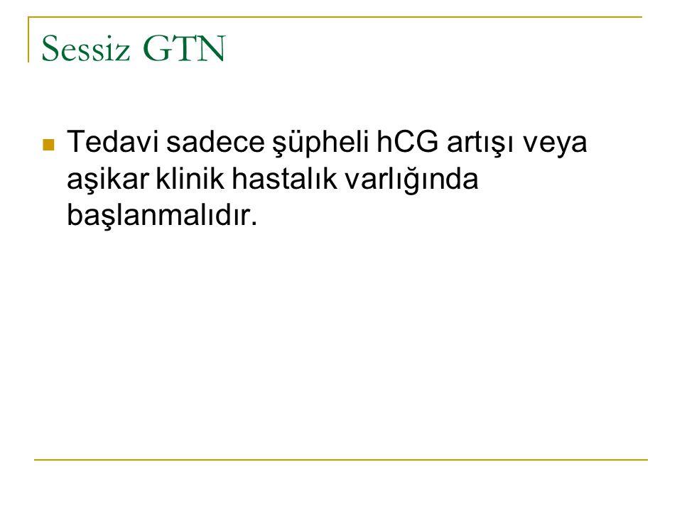 Sessiz GTN Tedavi sadece şüpheli hCG artışı veya aşikar klinik hastalık varlığında başlanmalıdır.