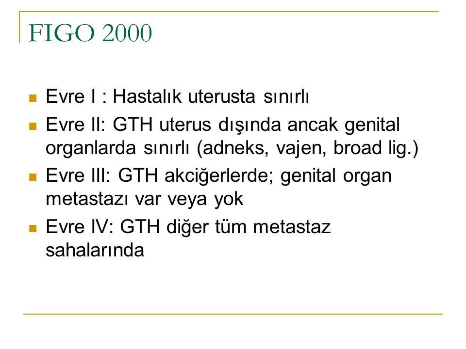 FIGO 2000 Evre I : Hastalık uterusta sınırlı Evre II: GTH uterus dışında ancak genital organlarda sınırlı (adneks, vajen, broad lig.) Evre III: GTH ak
