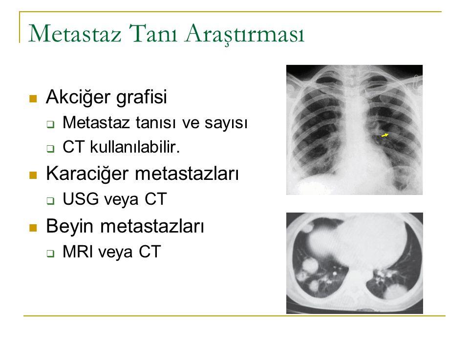 Metastaz Tanı Araştırması Akciğer grafisi  Metastaz tanısı ve sayısı  CT kullanılabilir. Karaciğer metastazları  USG veya CT Beyin metastazları  M