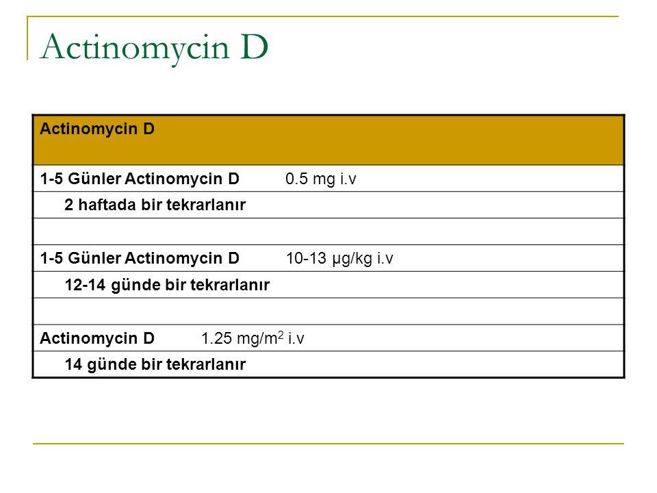 Actinomycin D 1-5 Günler Actinomycin D 0.5 mg i.v 2 haftada bir tekrarlanır 1-5 Günler Actinomycin D 10-13 μg/kg i.v 12-14 günde bir tekrarlanır Actin