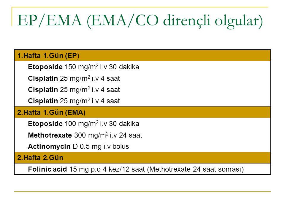 EP/EMA (EMA/CO dirençli olgular) 1.Hafta 1.Gün (EP) Etoposide 150 mg/m 2 i.v 30 dakika Cisplatin 25 mg/m 2 i.v 4 saat 2.Hafta 1.Gün (EMA) Etoposide 10