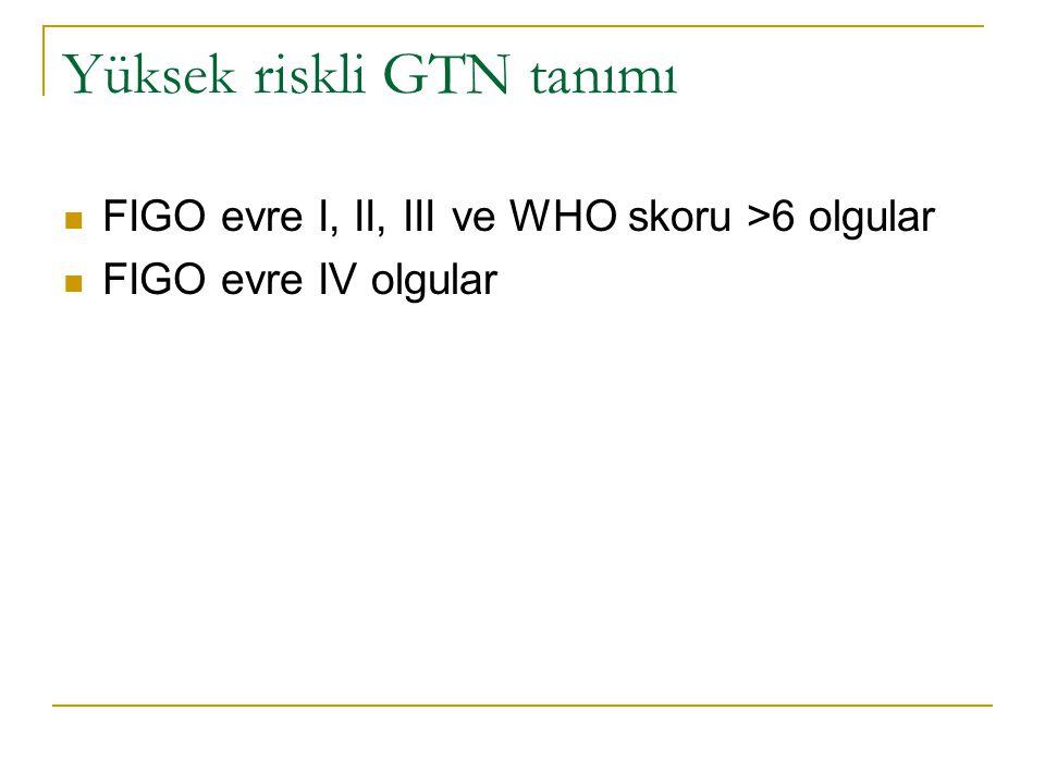 Yüksek riskli GTN tanımı FIGO evre I, II, III ve WHO skoru >6 olgular FIGO evre IV olgular