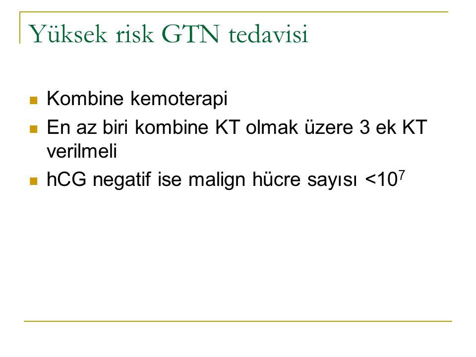 Yüksek risk GTN tedavisi Kombine kemoterapi En az biri kombine KT olmak üzere 3 ek KT verilmeli hCG negatif ise malign hücre sayısı <10 7
