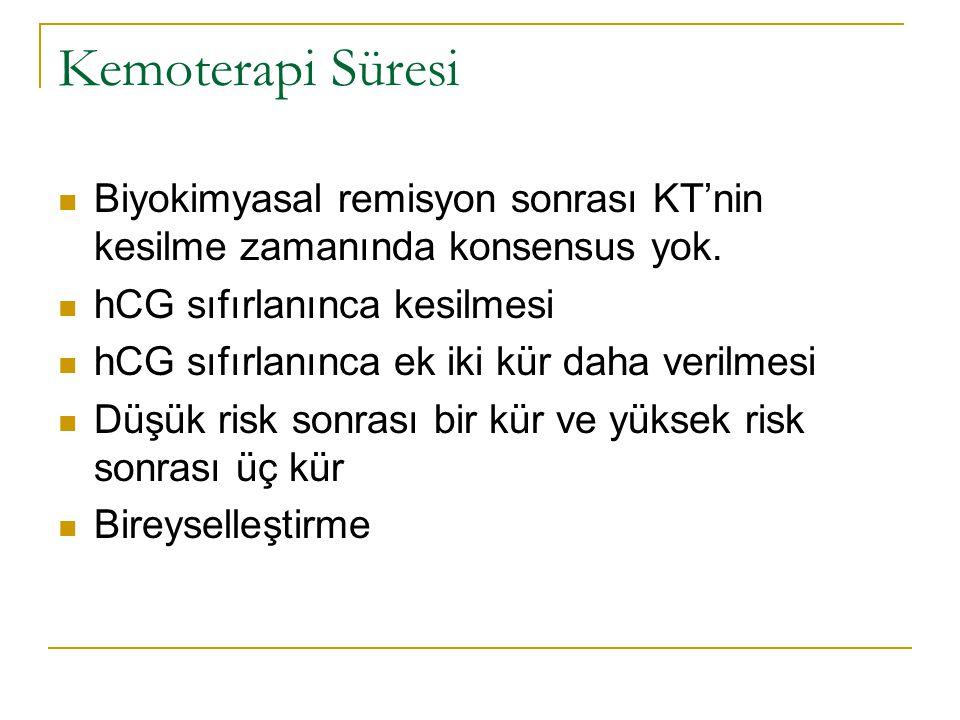 Kemoterapi Süresi Biyokimyasal remisyon sonrası KT'nin kesilme zamanında konsensus yok. hCG sıfırlanınca kesilmesi hCG sıfırlanınca ek iki kür daha ve