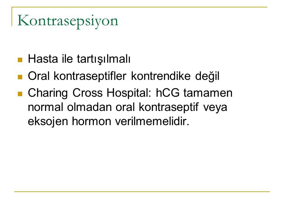 Kontrasepsiyon Hasta ile tartışılmalı Oral kontraseptifler kontrendike değil Charing Cross Hospital: hCG tamamen normal olmadan oral kontraseptif veya