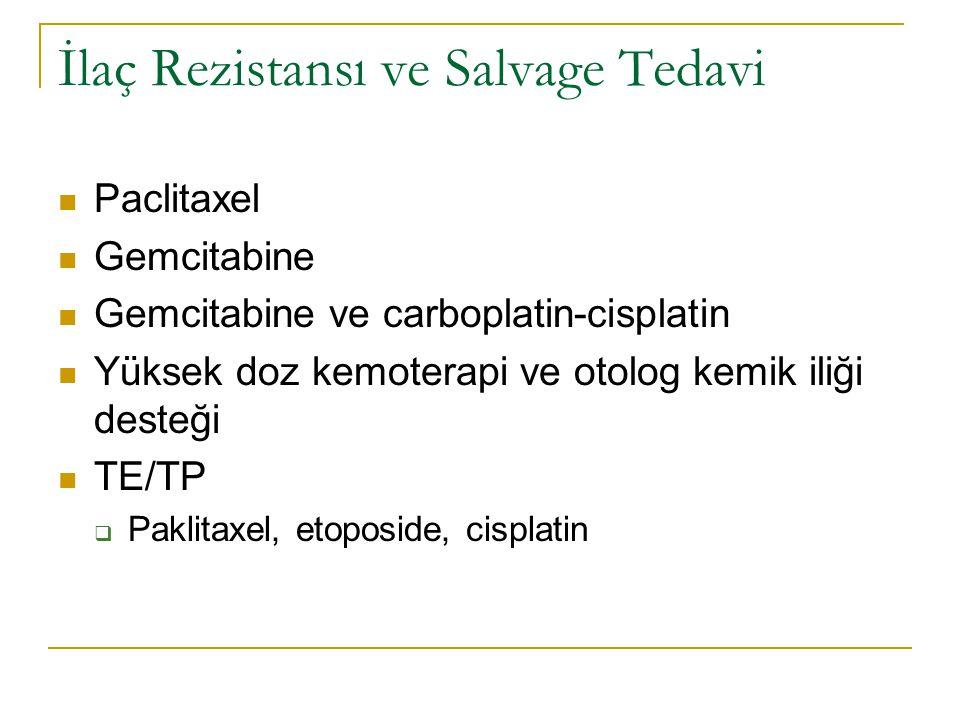 İlaç Rezistansı ve Salvage Tedavi Paclitaxel Gemcitabine Gemcitabine ve carboplatin-cisplatin Yüksek doz kemoterapi ve otolog kemik iliği desteği TE/T