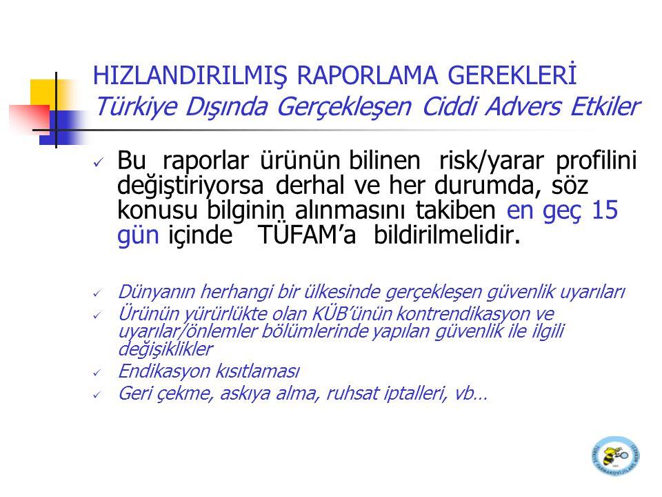 HIZLANDIRILMIŞ RAPORLAMA GEREKLERİ Türkiye Dışında Gerçekleşen Ciddi Advers Etkiler Bu raporlar ürünün bilinen risk/yarar profilini değiştiriyorsa der