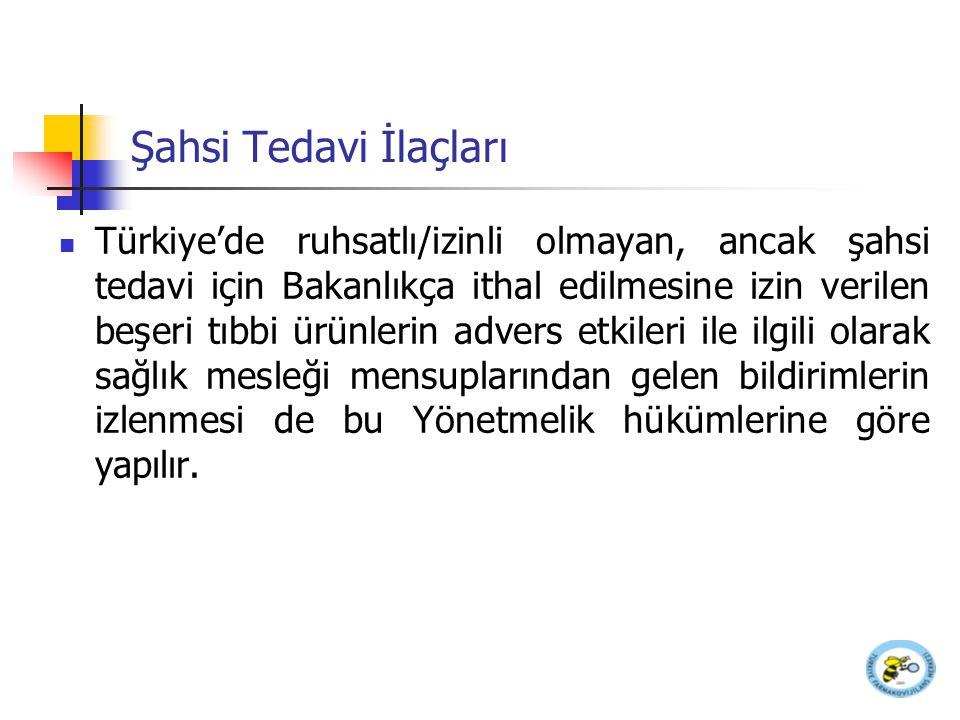 Şahsi Tedavi İlaçları Türkiye'de ruhsatlı/izinli olmayan, ancak şahsi tedavi için Bakanlıkça ithal edilmesine izin verilen beşeri tıbbi ürünlerin adve