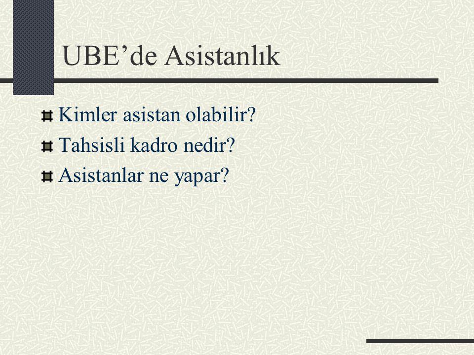 UBE'de Asistanlık Kimler asistan olabilir Tahsisli kadro nedir Asistanlar ne yapar