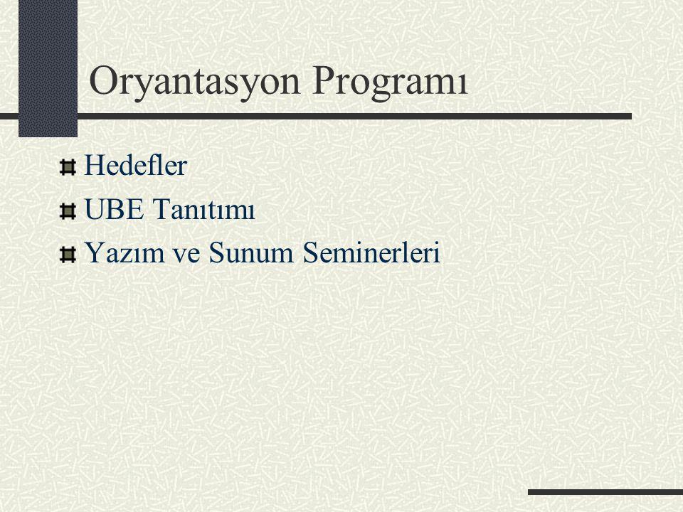 Oryantasyon Programı Hedefler UBE Tanıtımı Yazım ve Sunum Seminerleri
