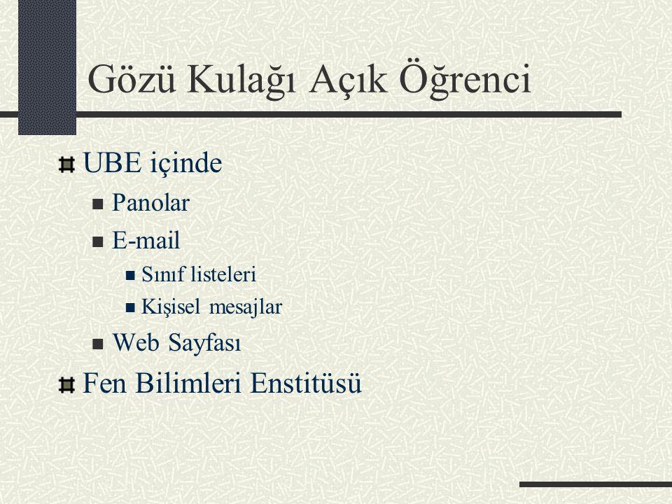 Gözü Kulağı Açık Öğrenci UBE içinde Panolar E-mail Sınıf listeleri Kişisel mesajlar Web Sayfası Fen Bilimleri Enstitüsü