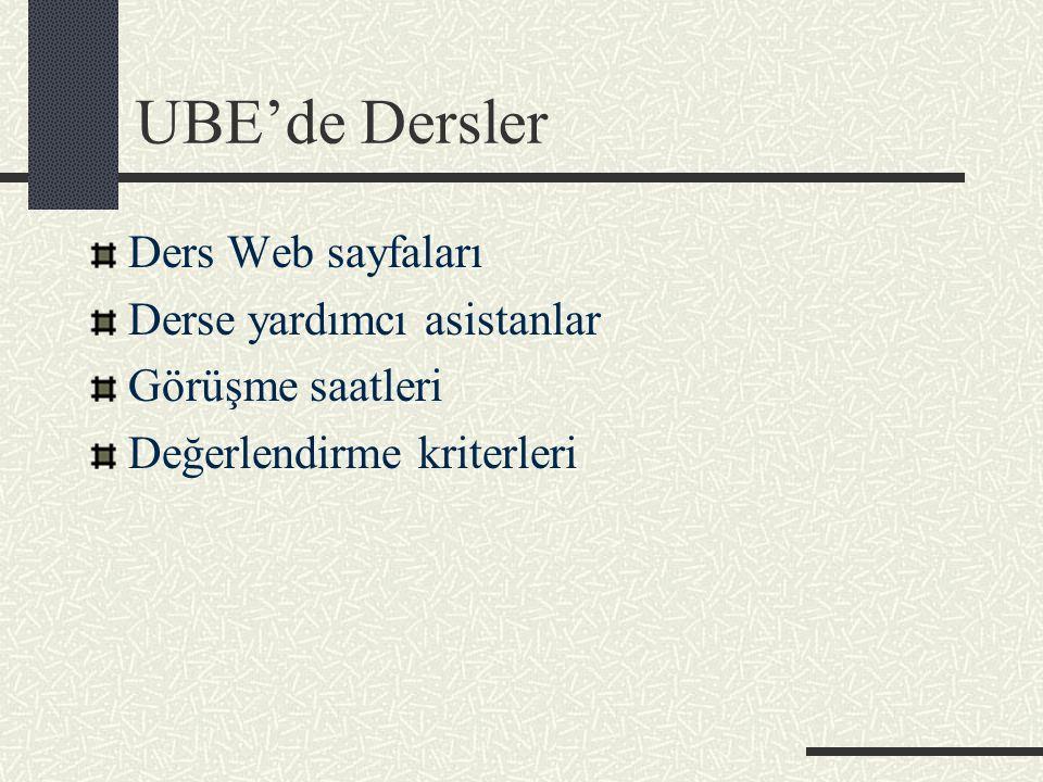 UBE'de Dersler Ders Web sayfaları Derse yardımcı asistanlar Görüşme saatleri Değerlendirme kriterleri