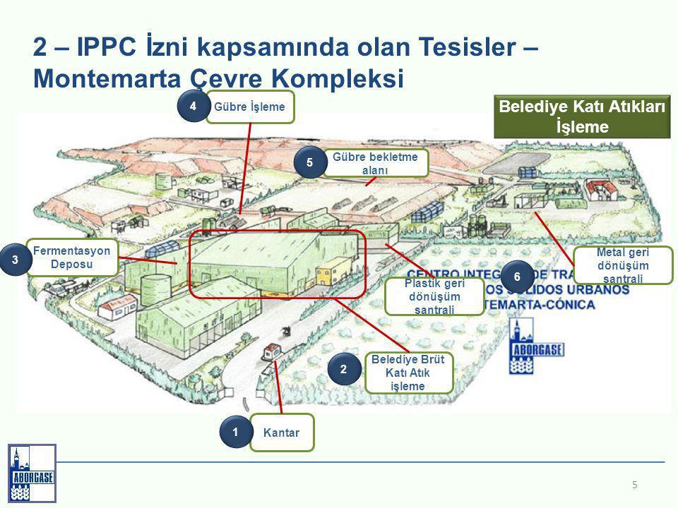 2 – IPPC İzni kapsamında olan Tesisler – Montemarta Çevre Kompleksi 5 Kantar 1 Belediye Brüt Katı Atık işleme 2 Fermentasyon Deposu 3 Gübre İşleme 4 Gübre bekletme alanı 5 Metal geri dönüşüm santrali Plastik geri dönüşüm santrali 6 Belediye Katı Atıkları İşleme