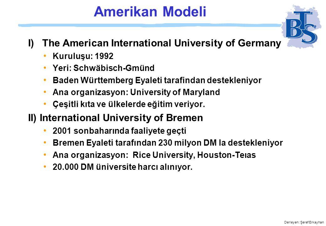 Derleyen: Şeref Erkayhan Amerikan Modeli III) German International Graduate School of Management and administration (GISMA) Yönetim kurulunda Fed.Almanya Başbakanı Gerhard Schröder bulunuyor Kuruluşu: 1997 Yeri: Hannover Aşağı Saksonya Eyaleti tarafından destekleniyor Ana organizasyon: Krannert School, Purdue University-Indiana Öğrenci ve mezunlar belirli bir süre ABD de eşitiliyorlar.