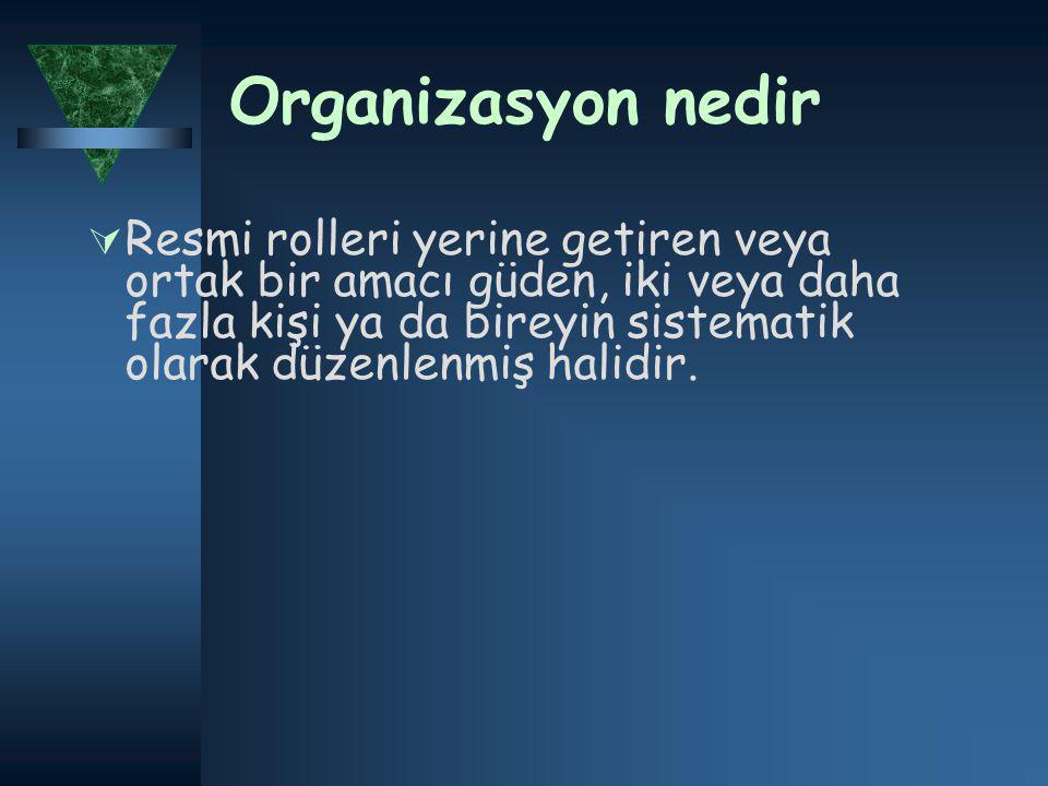 Organizasyon nedir  Resmi rolleri yerine getiren veya ortak bir amacı güden, iki veya daha fazla kişi ya da bireyin sistematik olarak düzenlenmiş halidir.