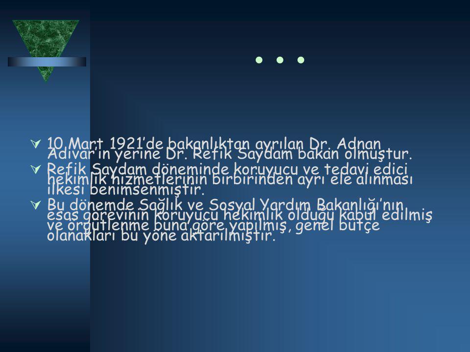 …  10 Mart 1921'de bakanlıktan ayrılan Dr. Adnan Adıvar'ın yerine Dr.