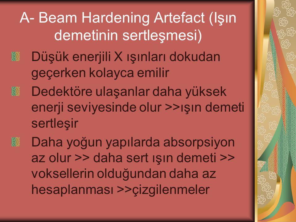 A- Beam Hardening Artefact (Işın demetinin sertleşmesi) Düşük enerjili X ışınları dokudan geçerken kolayca emilir Dedektöre ulaşanlar daha yüksek ener