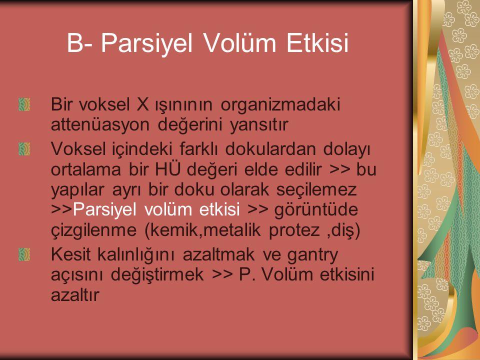 B- Parsiyel Volüm Etkisi Bir voksel X ışınının organizmadaki attenüasyon değerini yansıtır Voksel içindeki farklı dokulardan dolayı ortalama bir HÜ de