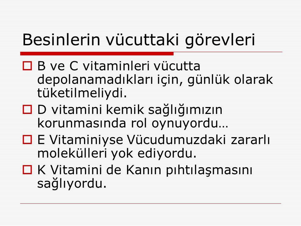 Besinlerin Vücuttaki görevleri  Vitaminlerse: Vücutta düzenleyici rol oynayıp A vitamini sayesinde Göz sağlığımızı korumamız daha kolay oluyordu.