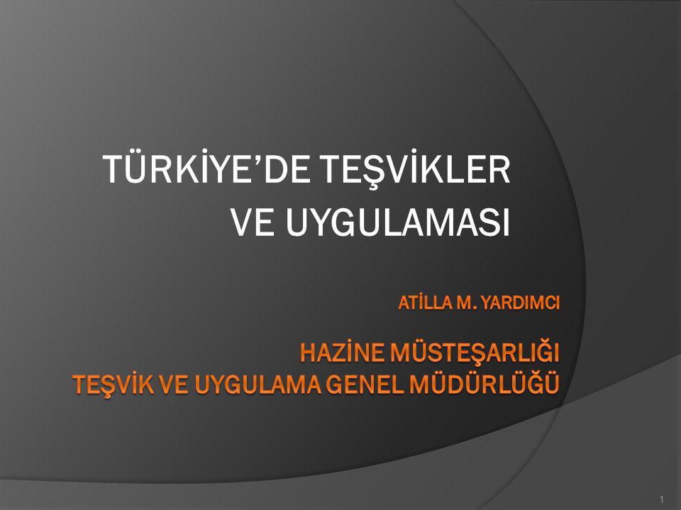 TÜRKİYE'DE TEŞVİKLER VE UYGULAMASI SUNUM ALTBAŞLIKLARI 1.