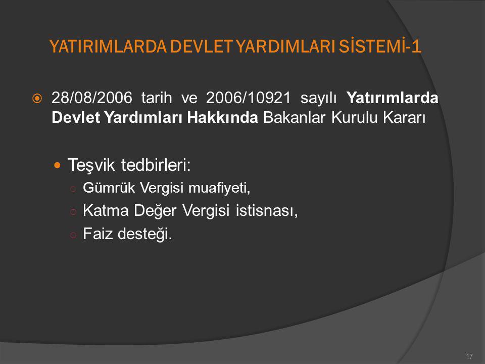 YATIRIMLARDA DEVLET YARDIMLARI SİSTEMİ-1  28/08/2006 tarih ve 2006/10921 sayılı Yatırımlarda Devlet Yardımları Hakkında Bakanlar Kurulu Kararı Teşvik