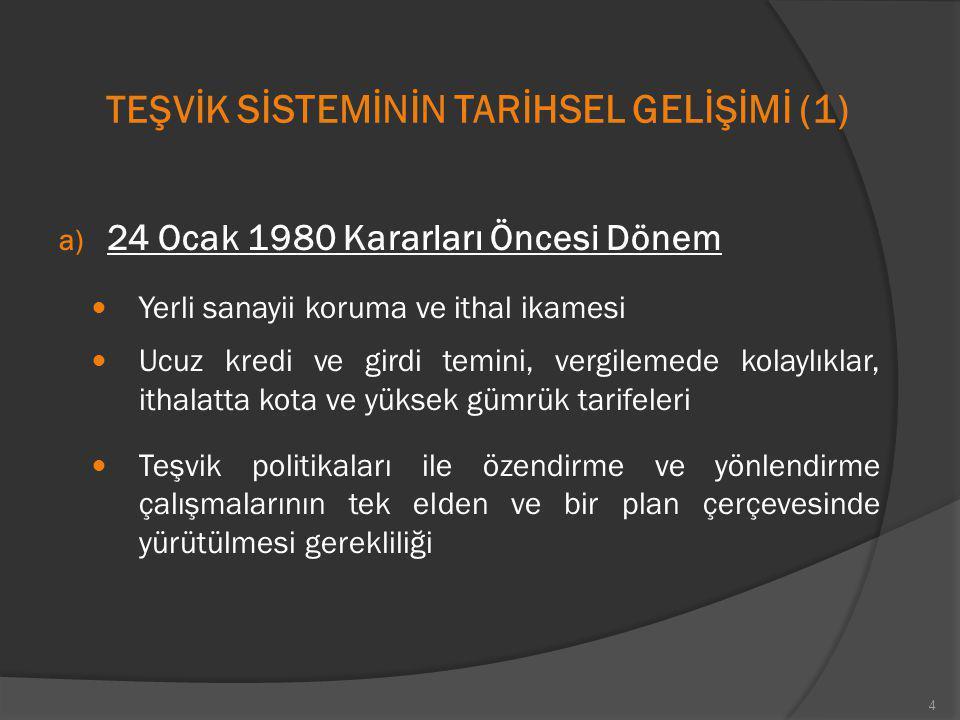 1995 SONRASI DÖNEMDE TEŞVİKLERDE MEYDANA GELEN UYUM ODAKLI DEĞİŞİM (3)  Bu dönemin tipik bir özelliği de; Türkiye'de teşvik uygulamalarından sorumlu birden çok kuruluş bulunması, bunların herbirinin DTÖ ve AB kurallarına uyum kavramını kendi yaptığı ve uyguladığı mevzuat ile sınırlı olarak algılamış olmasıdır.