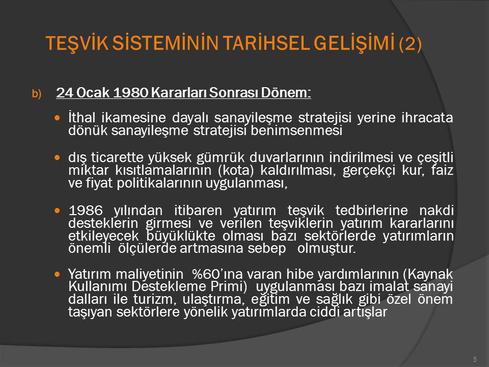 TEŞVİK S İ STEM İ N İ N TAR İ HSEL GEL İŞİ M İ (2) b) 24 Ocak 1980 Kararları Sonrası Dönem: İthal ikamesine dayalı sanayileşme stratejisi yerine ihrac