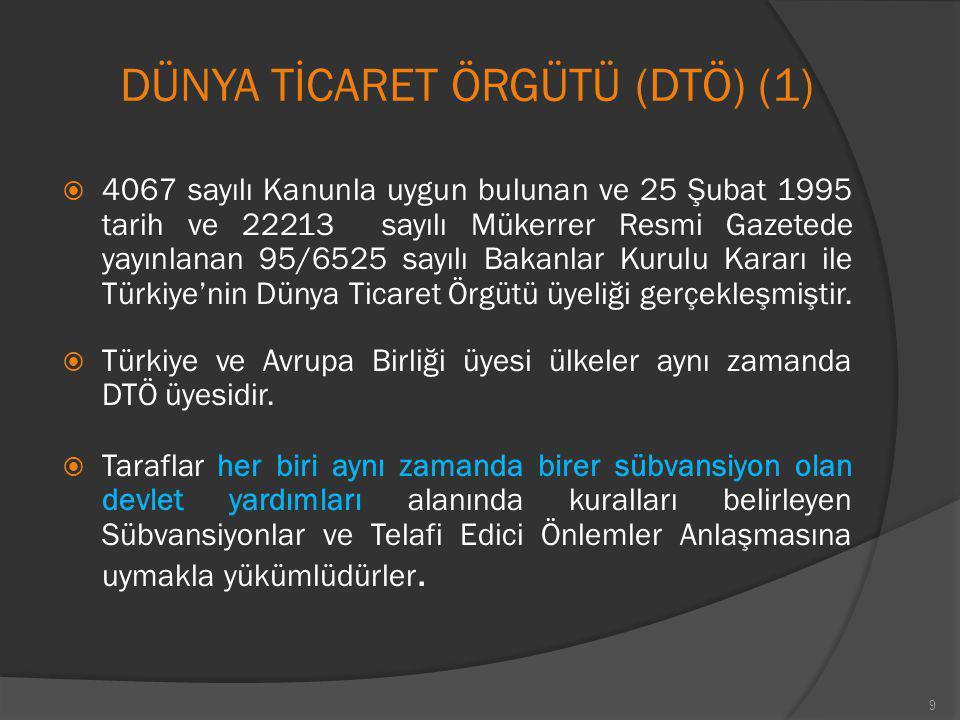 DÜNYA TİCARET ÖRGÜTÜ (DTÖ) (1)  4067 sayılı Kanunla uygun bulunan ve 25 Şubat 1995 tarih ve 22213 sayılı Mükerrer Resmi Gazetede yayınlanan 95/6525 s