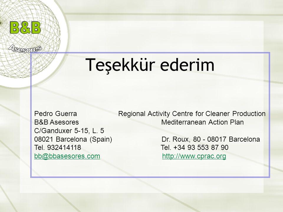 Teşekkür ederim Pedro Guerra Regional Activity Centre for Cleaner Production B&B Asesores Mediterranean Action Plan C/Ganduxer 5-15, L. 5 08021 Barcel