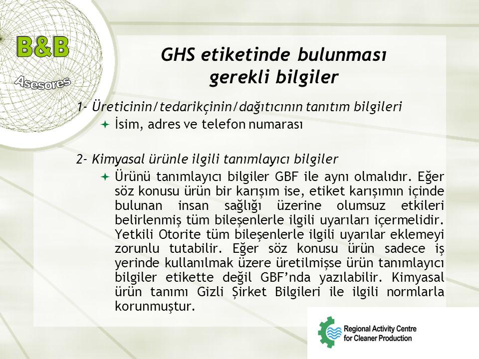 GHS etiketinde bulunması gerekli bilgiler 1- Üreticinin/tedarikçinin/dağıtıcının tanıtım bilgileri  İsim, adres ve telefon numarası 2- Kimyasal ürünl