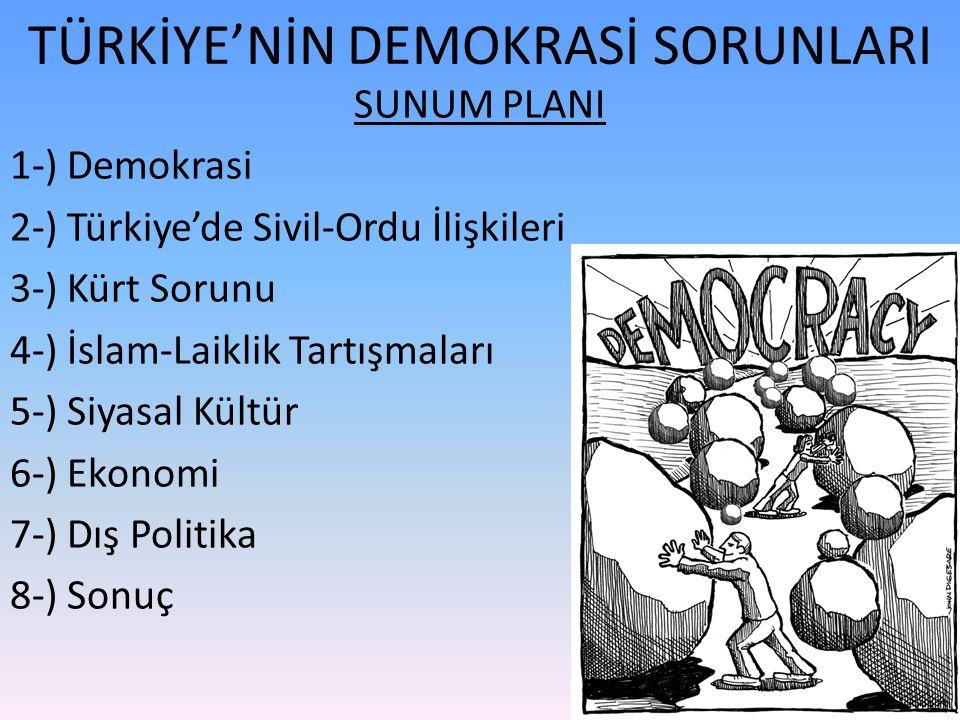 TÜRKİYE'NİN DEMOKRASİ SORUNLARI SUNUM PLANI 1-) Demokrasi 2-) Türkiye'de Sivil-Ordu İlişkileri 3-) Kürt Sorunu 4-) İslam-Laiklik Tartışmaları 5-) Siyasal Kültür 6-) Ekonomi 7-) Dış Politika 8-) Sonuç