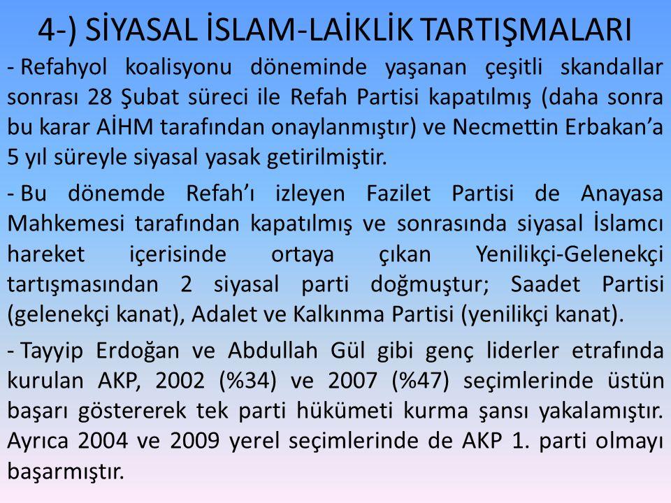 4-) SİYASAL İSLAM-LAİKLİK TARTIŞMALARI - Refahyol koalisyonu döneminde yaşanan çeşitli skandallar sonrası 28 Şubat süreci ile Refah Partisi kapatılmış (daha sonra bu karar AİHM tarafından onaylanmıştır) ve Necmettin Erbakan'a 5 yıl süreyle siyasal yasak getirilmiştir.