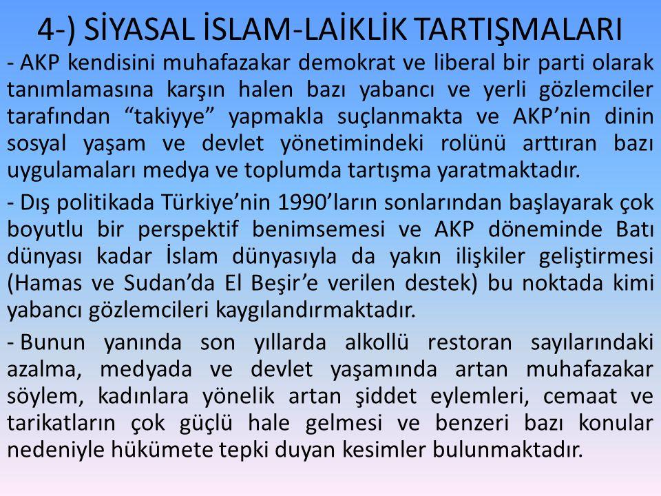 4-) SİYASAL İSLAM-LAİKLİK TARTIŞMALARI - AKP kendisini muhafazakar demokrat ve liberal bir parti olarak tanımlamasına karşın halen bazı yabancı ve yerli gözlemciler tarafından takiyye yapmakla suçlanmakta ve AKP'nin dinin sosyal yaşam ve devlet yönetimindeki rolünü arttıran bazı uygulamaları medya ve toplumda tartışma yaratmaktadır.