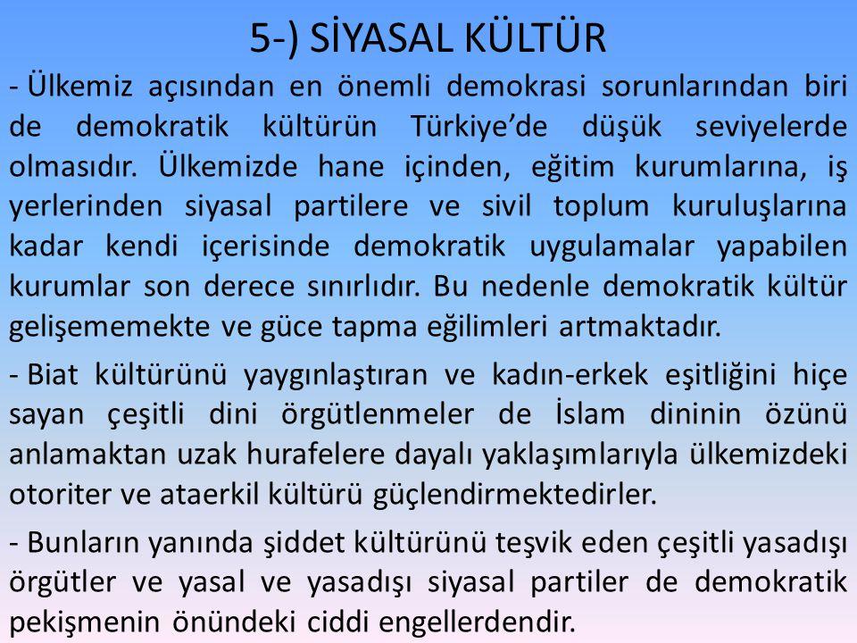 - Ülkemiz açısından en önemli demokrasi sorunlarından biri de demokratik kültürün Türkiye'de düşük seviyelerde olmasıdır. Ülkemizde hane içinden, eğit