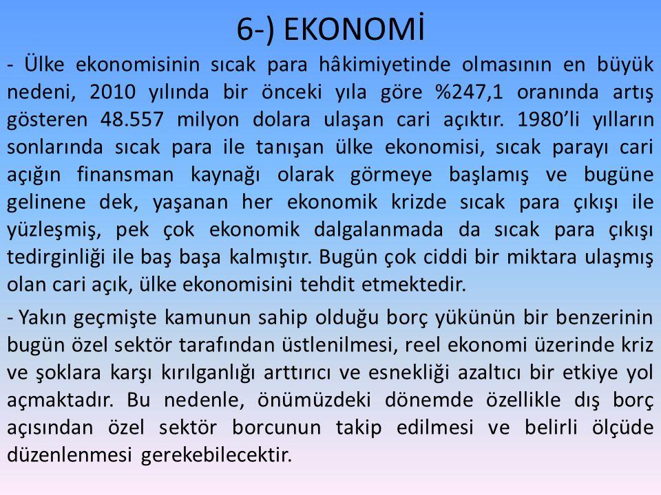 6-) EKONOMİ - Ülke ekonomisinin sıcak para hâkimiyetinde olmasının en büyük nedeni, 2010 yılında bir önceki yıla göre %247,1 oranında artış gösteren 48.557 milyon dolara ulaşan cari açıktır.