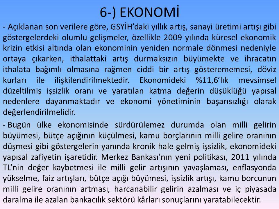 6-) EKONOMİ - Açıklanan son verilere göre, GSYİH'daki yıllık artış, sanayi üretimi artışı gibi göstergelerdeki olumlu gelişmeler, özellikle 2009 yılın