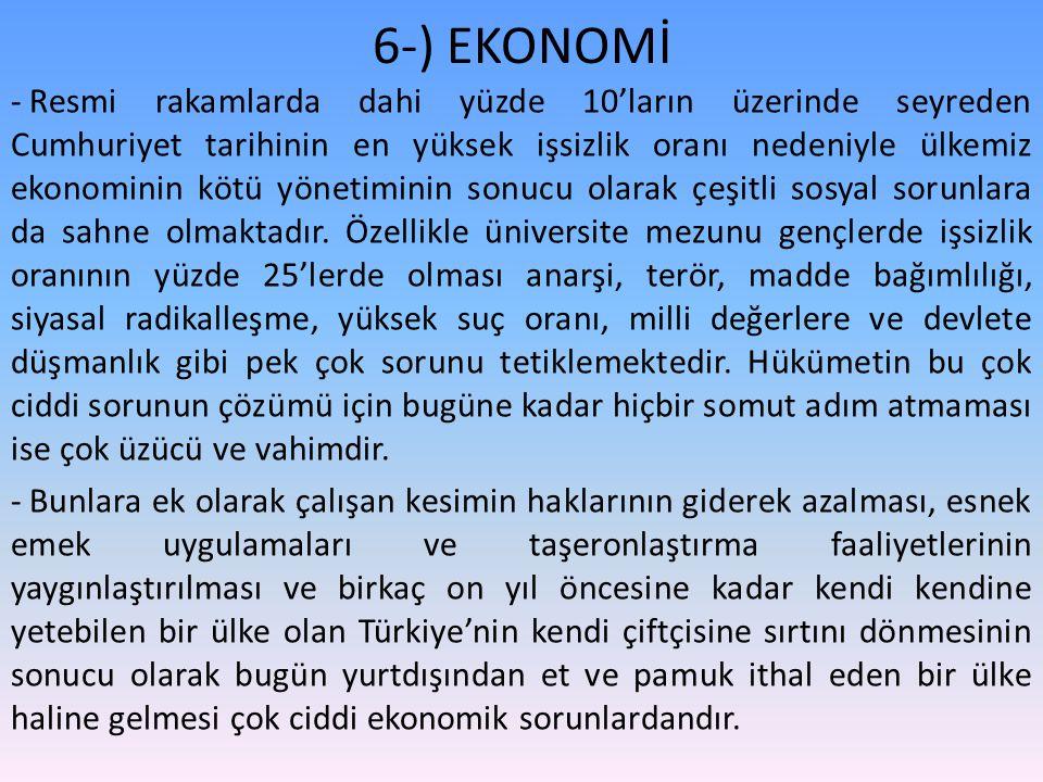 6-) EKONOMİ - Resmi rakamlarda dahi yüzde 10'ların üzerinde seyreden Cumhuriyet tarihinin en yüksek işsizlik oranı nedeniyle ülkemiz ekonominin kötü yönetiminin sonucu olarak çeşitli sosyal sorunlara da sahne olmaktadır.