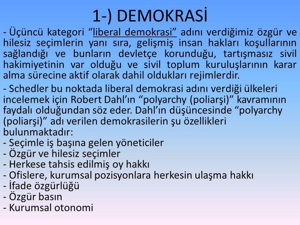 1-) DEMOKRASİ - Üçüncü kategori liberal demokrasi adını verdiğimiz özgür ve hilesiz seçimlerin yanı sıra, gelişmiş insan hakları koşullarının sağlandığı ve bunların devletçe korunduğu, tartışmasız sivil hakimiyetinin var olduğu ve sivil toplum kuruluşlarının karar alma sürecine aktif olarak dahil oldukları rejimlerdir.