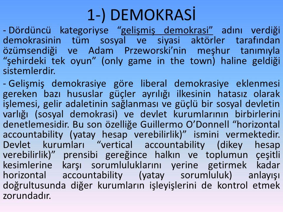 """1-) DEMOKRASİ - Dördüncü kategoriyse """"gelişmiş demokrasi"""" adını verdiği demokrasinin tüm sosyal ve siyasi aktörler tarafından özümsendiği ve Adam Prze"""