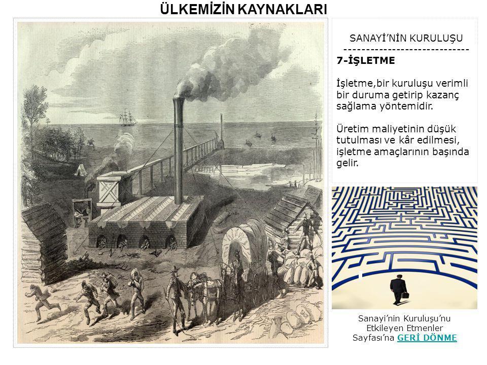 AÇIKLAMA: Yukarıda,Türkiye'de yer alan önemli Sanayi Bölgeleri gösterilmiştir.