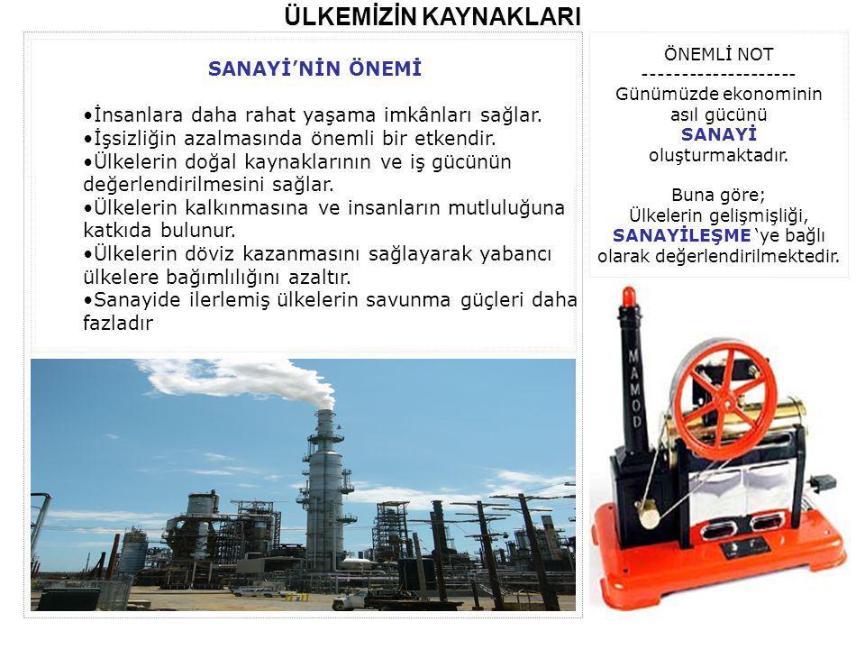 ÜLKEMİZİN KAYNAKLARI Sanayi kuruluşlarında üretilen mallar Sanayi Ürünü olarak ifade edilir.