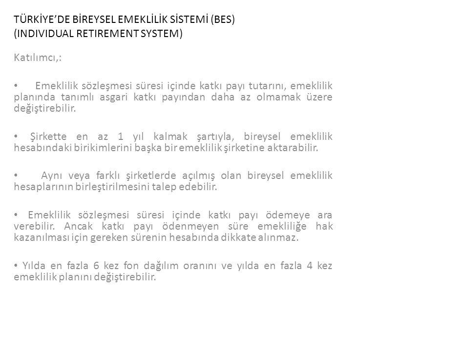 TÜRKİYE'DE BİREYSEL EMEKLİLİK SİSTEMİ (BES) (INDIVIDUAL RETIREMENT SYSTEM) Katılımcı,: Emeklilik sözleşmesi süresi içinde katkı payı tutarını, emeklil