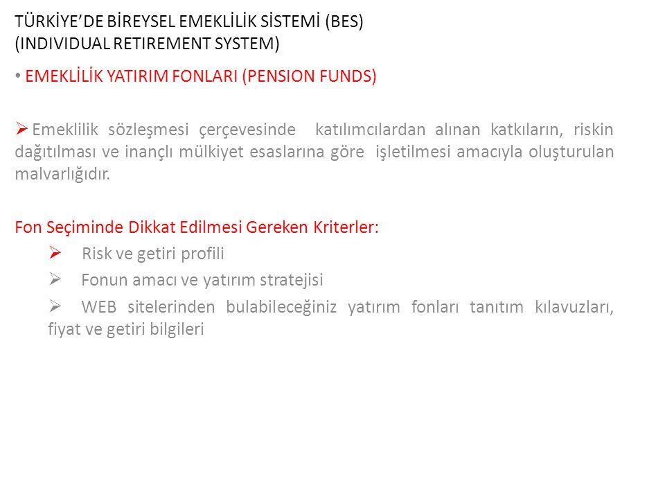TÜRKİYE'DE BİREYSEL EMEKLİLİK SİSTEMİ (BES) (INDIVIDUAL RETIREMENT SYSTEM) EMEKLİLİK YATIRIM FONLARI (PENSION FUNDS)  Emeklilik sözleşmesi çerçevesin