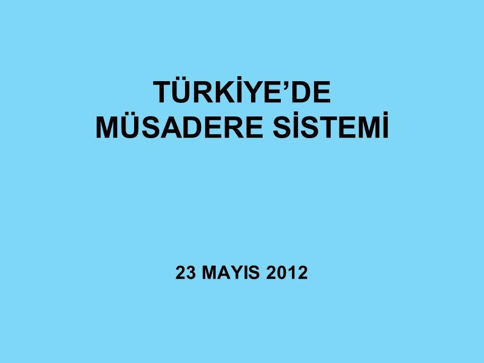 TÜRKİYE'DE MÜSADERE SİSTEMİ 23 MAYIS 2012